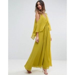 ASOS Drape Cold Shoulder Maxi Slit V Neck